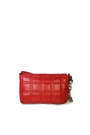 Güce Kırmızı Kare Nakışlı Plastik Zincirli Askılı El Ve Omuz Çantası Gc003402 2