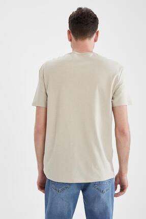 Defacto Erkek Ekru Regular Fit Bisiklet Yaka Baskılı T-Shirt 3
