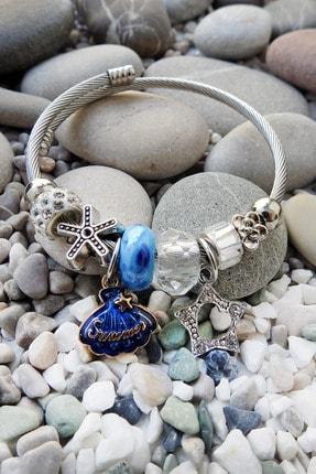Chavin Mavi Deniz Kabuğu Yıldız Charm Çelik Bayan Bileklik Ek10mv 1