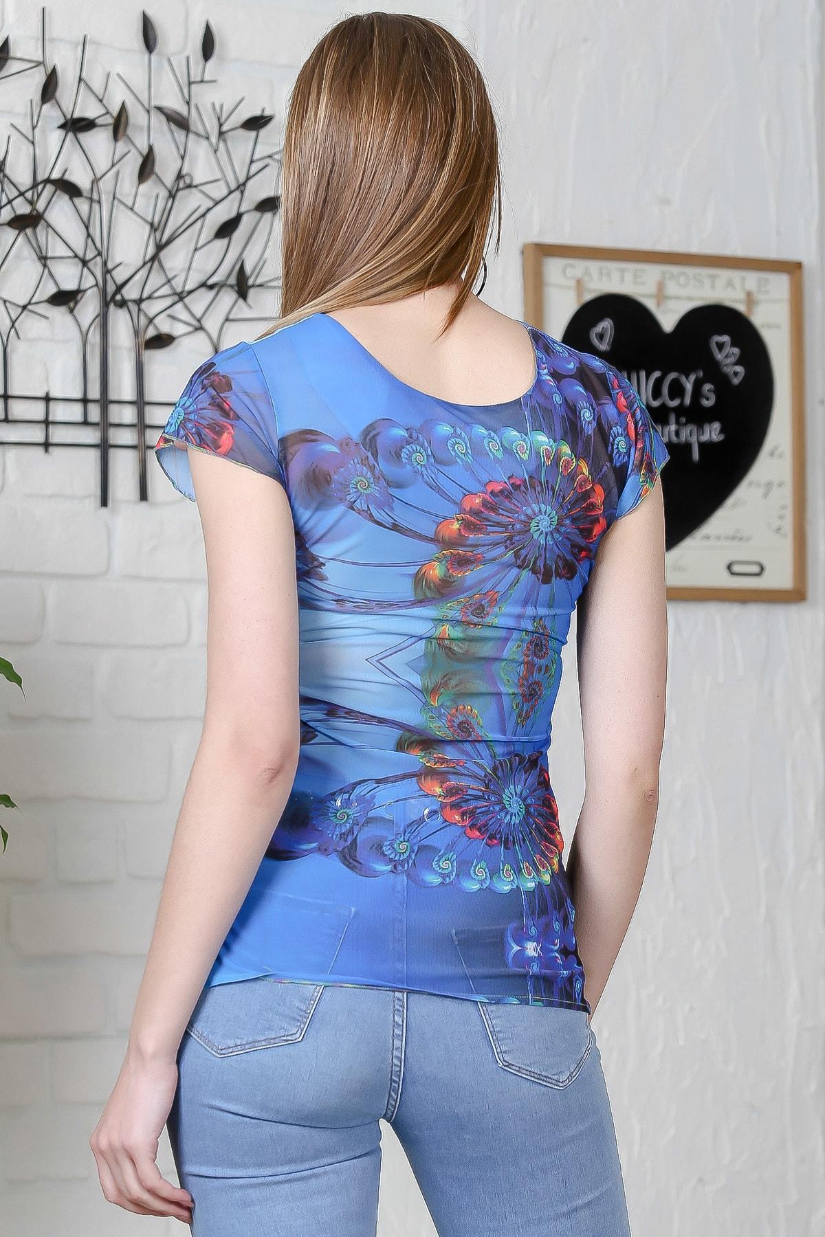 Chiccy Kadın Mavi Asimetrik Yaka Yanı Büzgü Detaylı Bluz M10010200BL95514 2