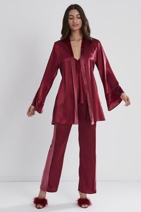 Pierre Cardin Kadın Kadife Saten 3'lü Pijama Takım - 2040 Bordo 1