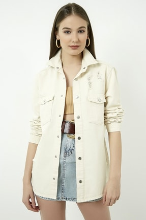 Vis a Vis Kadın Bej Yırtıklı Kot Ceket Gömlek  STN443KGO160 0