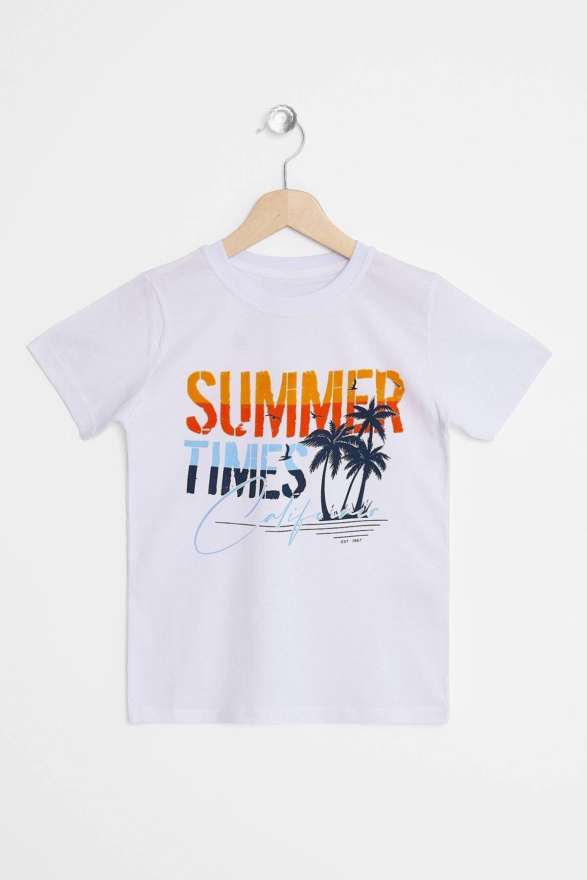 Erkek Çocuk T-shirt Summer Times Baskılı 3-12 Yaş