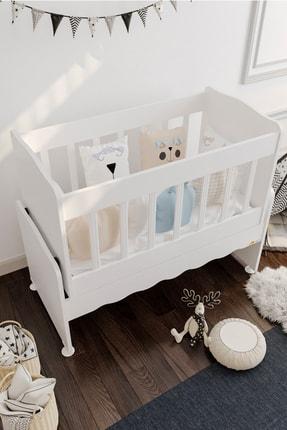 Aktehome Baby Sallanır Anne Yanı Ahşap Bebek Beşiği Beyaz 2
