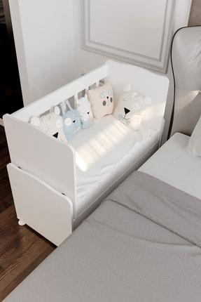 Aktehome Baby Sallanır Anne Yanı Ahşap Bebek Beşiği Beyaz 3