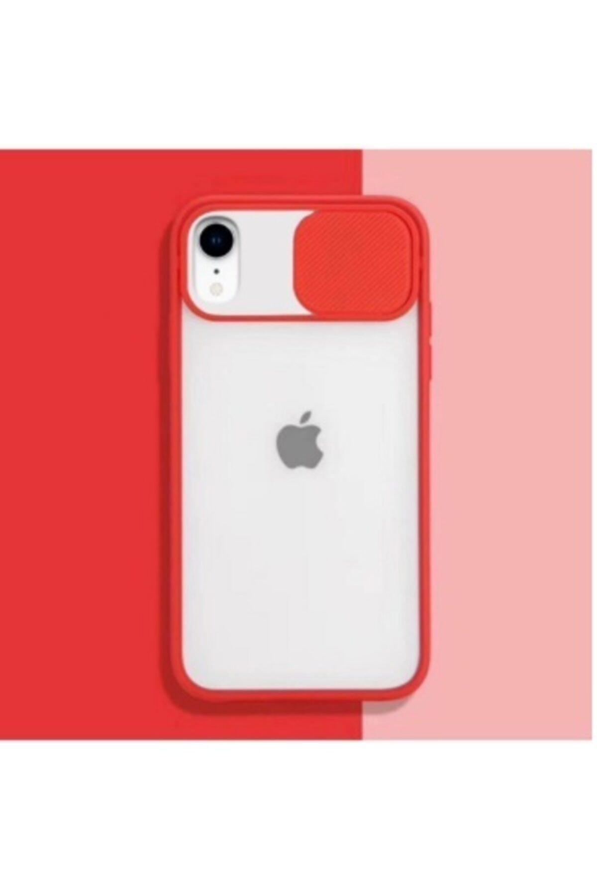 Iphone Xr Uyumlu  Kamera Lens Korumalı Sürgülü Kırmızı Kılıf