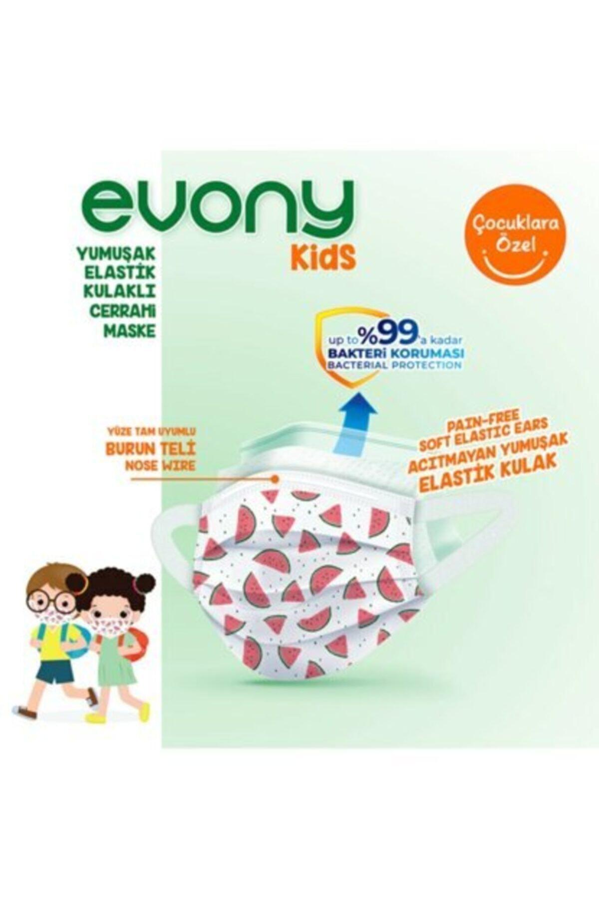 Evony Kids Yumuşak Elastik Kulaklı Renkli Çocuk Maskesi 10 Adet + Hediye 35 Ml Kolonya