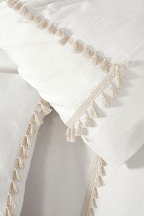 vivamaison Ponpon Full Organik Beyaz %100 Pamuk Çift Kişilik Nevresim Takımı 2