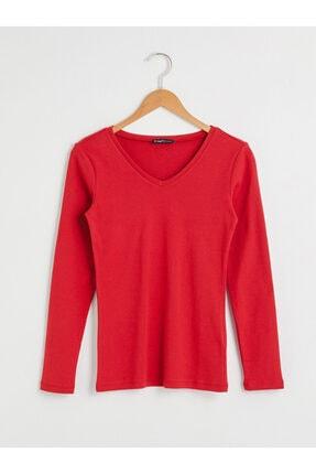 LC Waikiki Kadın Kırmızı Uzun Kollu Tişört 0