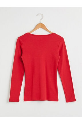 LC Waikiki Kadın Kırmızı Uzun Kollu Tişört 1