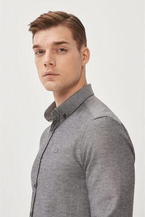 Avva Erkek Antrasit Oxford Düğmeli Yaka Regular Fit Gömlek E002000 1