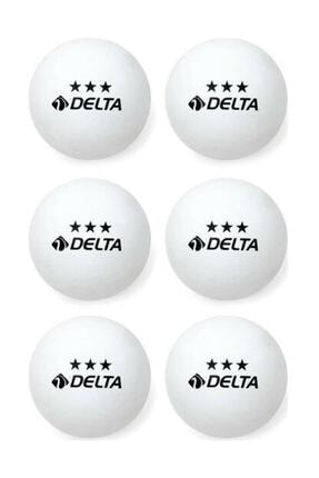 Delta 3 Yıldız Beyaz Masa Tenisi Pinpon Topu 6 Adet 0
