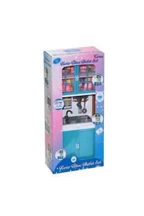 Muhcu Toys Kız Çocuk Mavi Dolaplı Lavabo Mutfak Seti 0