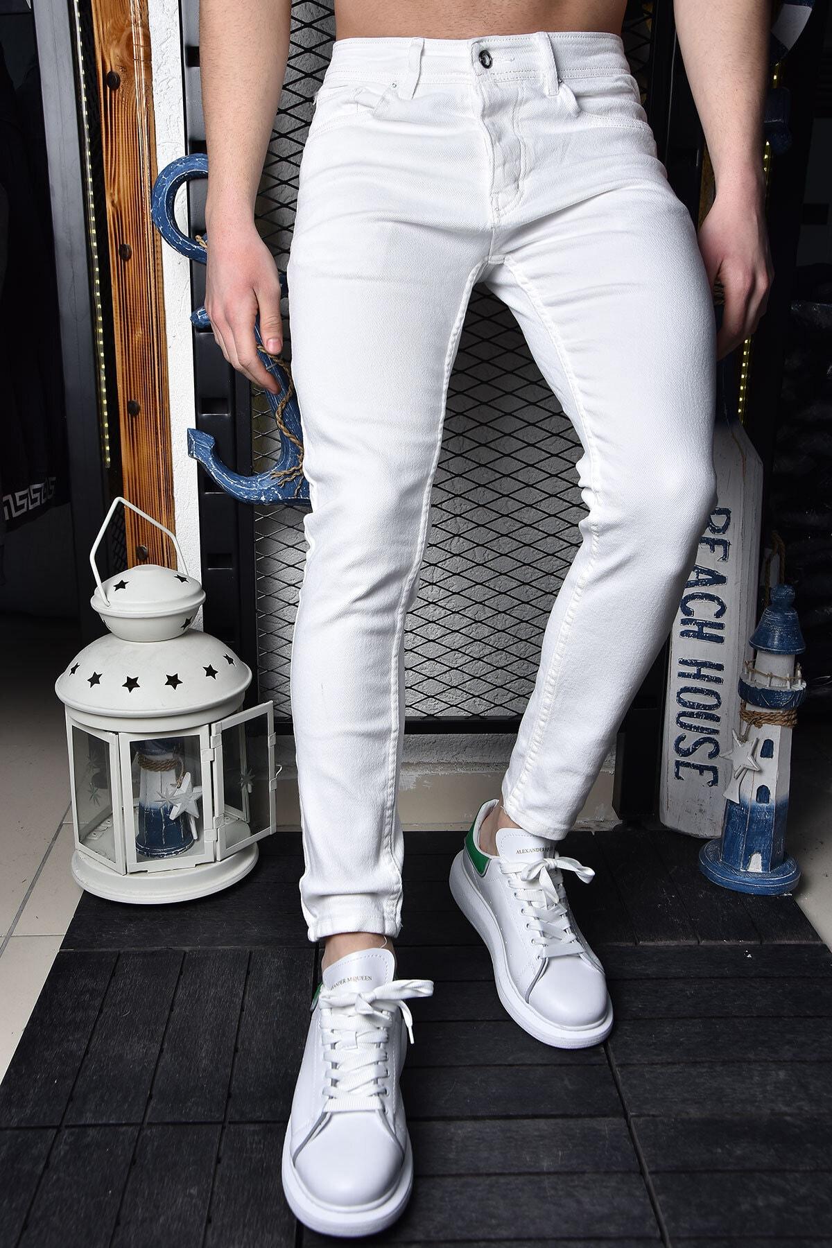 Erkek Beyaz Skinny Fit Bilek Boy Pantolon