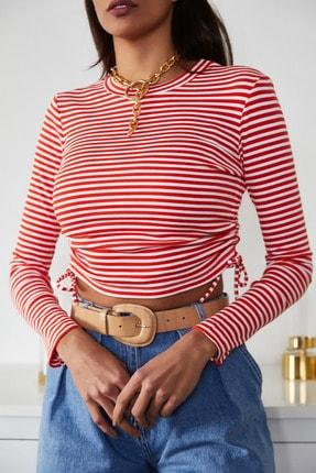 Xena Kadın Kırmızı Büzgülü Çizgili Bluz 1KZK2-11220-04 2