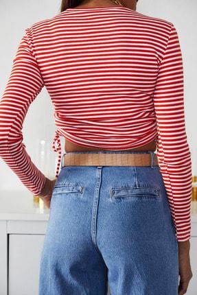 Xena Kadın Kırmızı Büzgülü Çizgili Bluz 1KZK2-11220-04 4