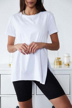 Xena Kadın Beyaz Basic Bisiklet Yaka Yırtmaçlı T-Shirt 1KZK1-11202-01 2