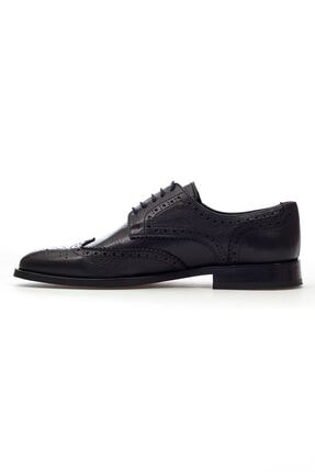 MARCOMEN Siyah Lazer Detaylı Hakiki Deri Bağcıklı Erkek Klasik Ayakkabı • A20eymcm0024 2