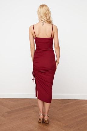 TRENDYOLMİLLA Bordo Yırtmaç Detaylı Drapeli Elbise TPRSS21EL0213 4