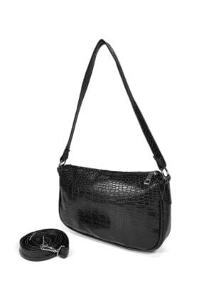 Güce Kadın Siyah Kroko Desenli Ayarlanabilir Askılı Baget Baguette El Ve Omuz Çantası Gc011700kf 1