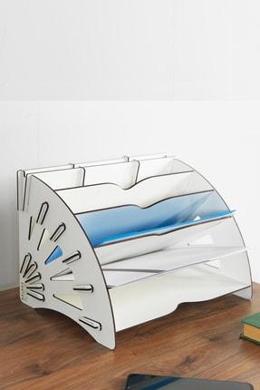 KUK Design Beyaz Delcia Modern Pratik Ofis Masaüstü Organizer Düzenleyici A4 Evrak Rafı 1