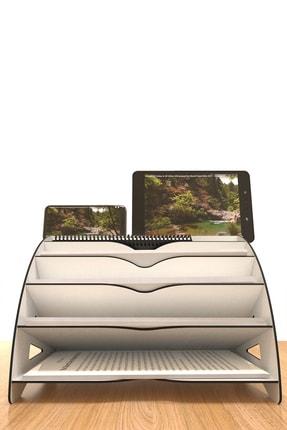 KUK Design Beyaz Delcia Modern Pratik Ofis Masaüstü Organizer Düzenleyici A4 Evrak Rafı 4