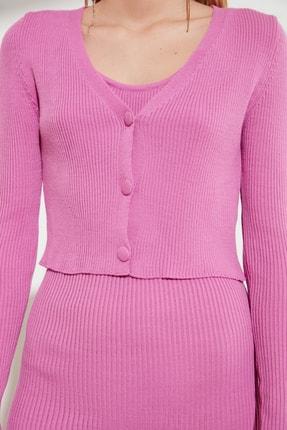 TRENDYOLMİLLA Pembe Düğme Detaylı Hırka Elbise Triko Takım TWOSS21EL0208 1