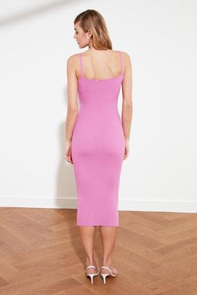 TRENDYOLMİLLA Pembe Düğme Detaylı Hırka Elbise Triko Takım TWOSS21EL0208 3