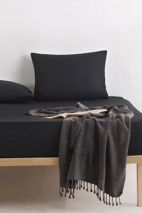 Enlora Home %100 Doğal Pamuk DüzRenk Lastikli Çarşaf+Yastık Seti Çift Kişilik FreshColor Siyah 0