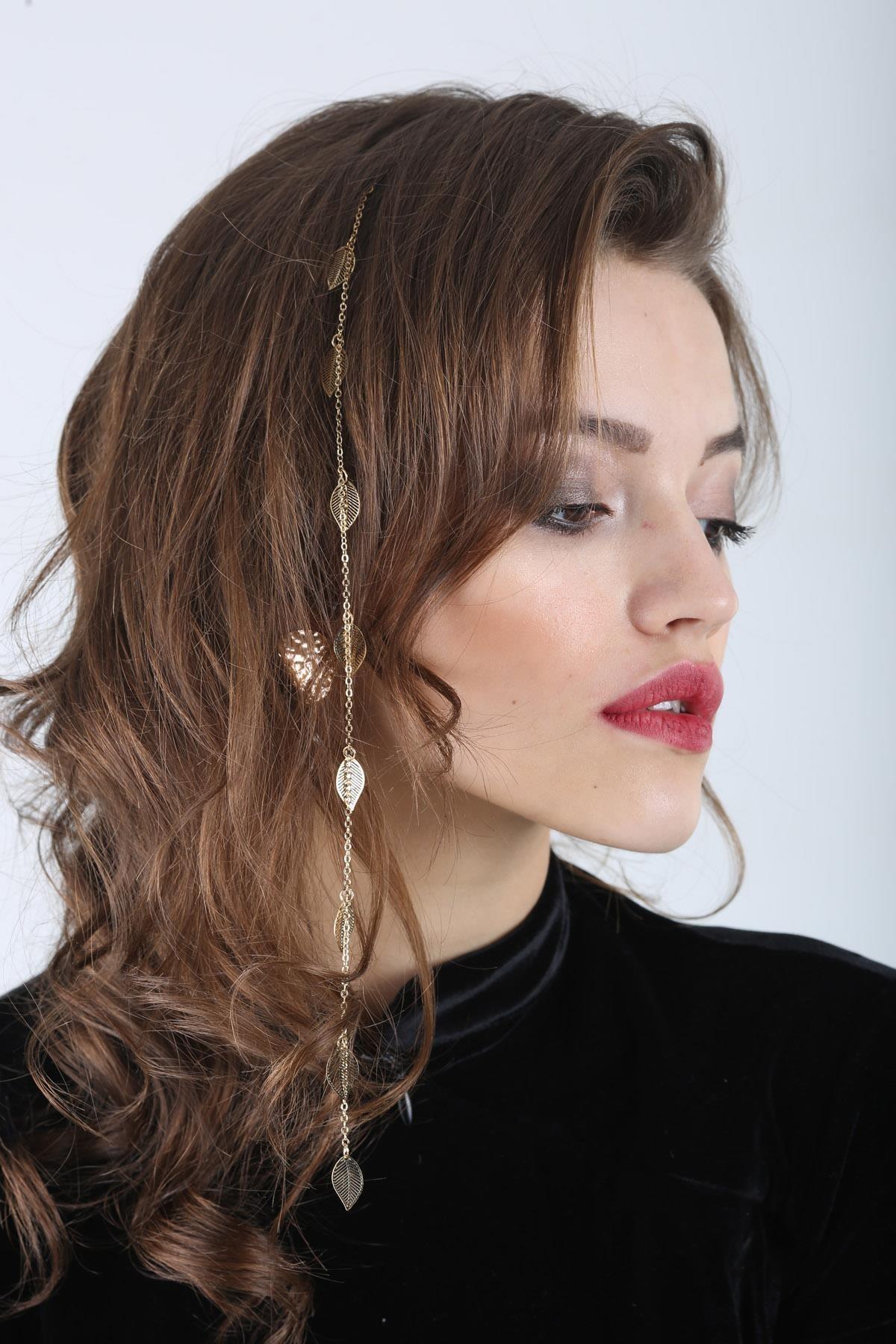 Kadın Altın Celeste Yapraklı Saç Zinciri