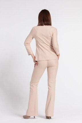 Jument Kadın Bej Yakalı Cep Detaylı Blazer Ceket 3
