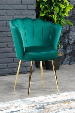 AYSU Sandalye Papatya Tekli Berjer Yeşil Altın Ayak 0