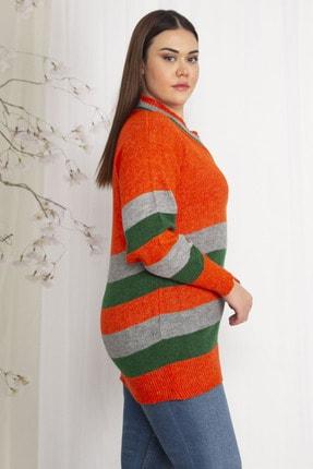 Şans Kadın Renkli Triko Kazak 65N22242 2