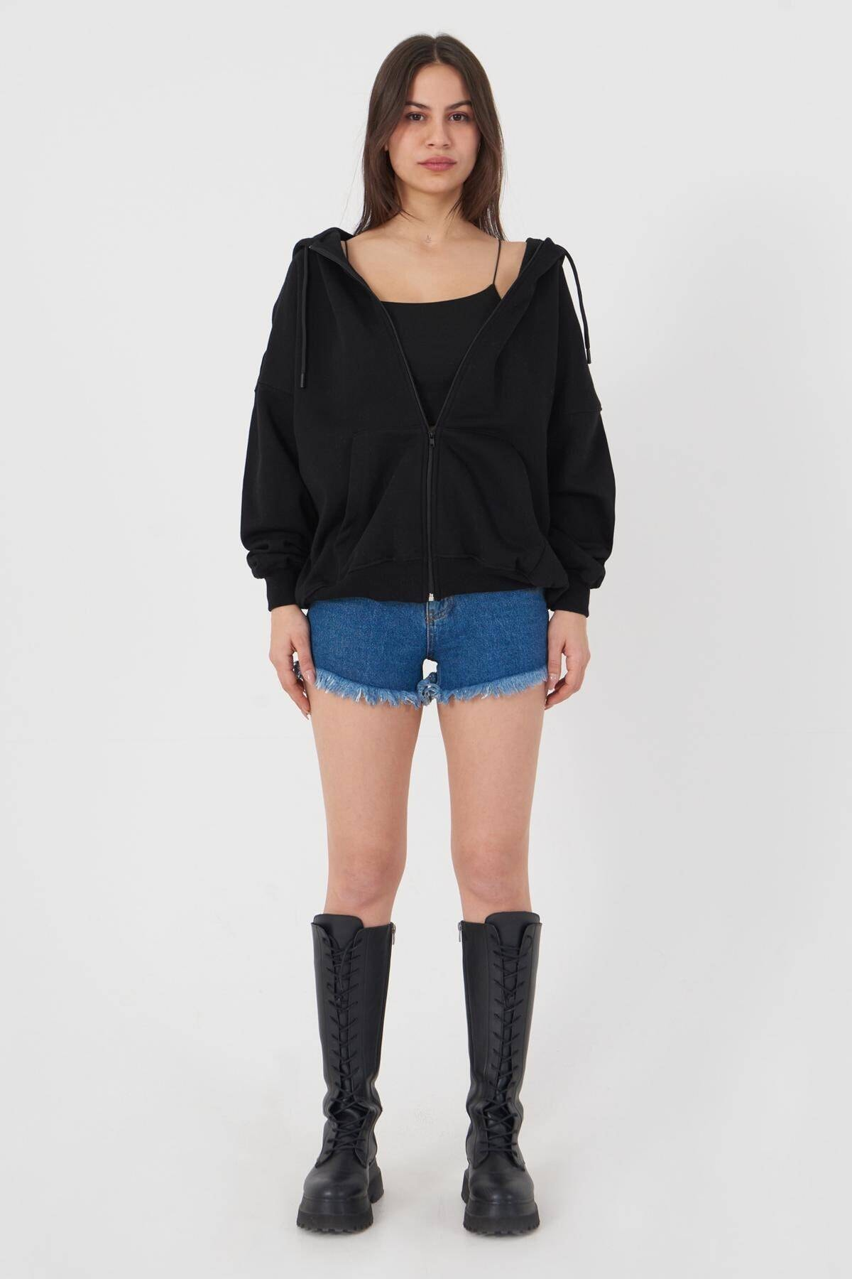 Addax Kadın Siyah Kapüşonlu Uzun Hırka H0725 - W6 - W7 ADX-0000020316 3
