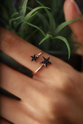 İzla Design Çift Yıldız Model Siyah Zirkon Taşlı Rose Kaplama Gümüş Yüzük 2