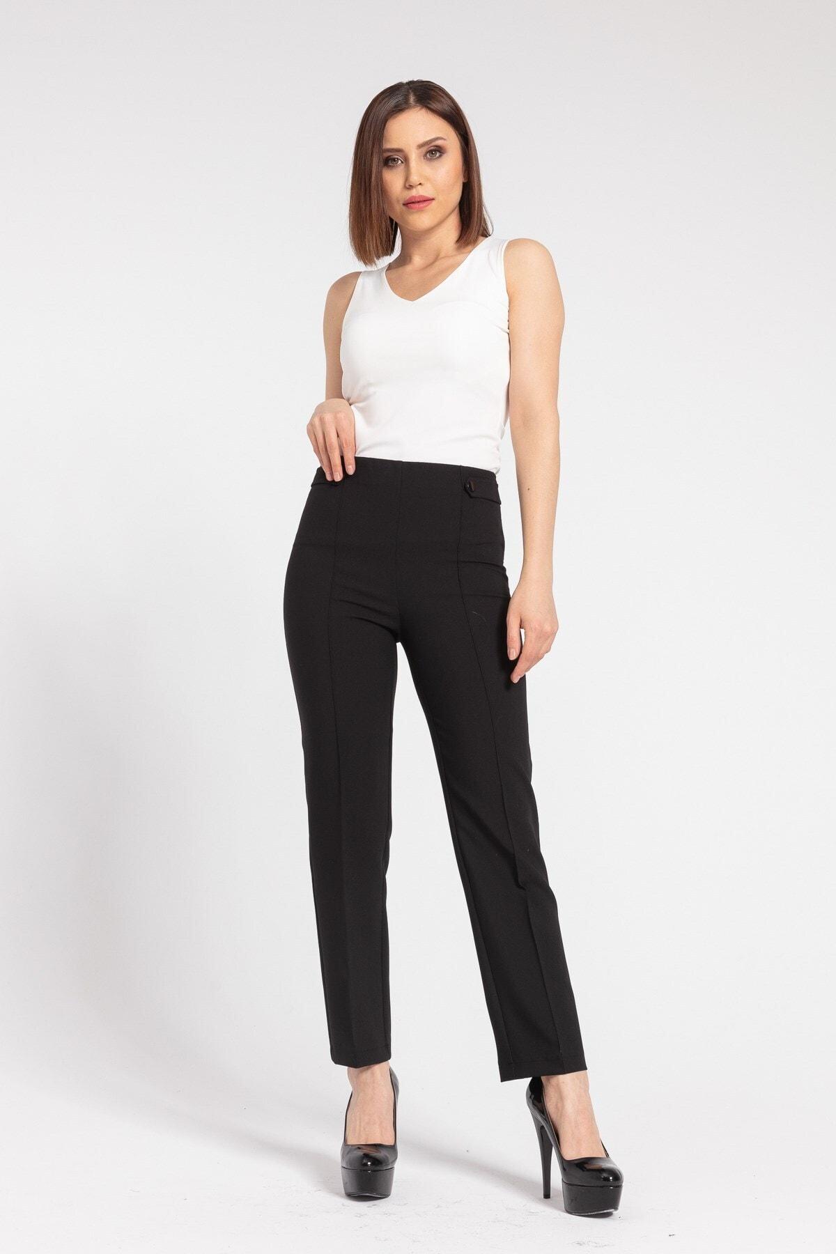 Kadın Yüksek Bel Önü Dikişli Beli Apoletli Düğmeli Boru Paça Kumaş Pantolon-siyah