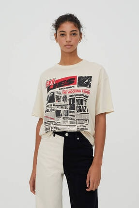 Pull & Bear Kadın Bej Guns N' Roses Gazete Görselli T-shirt 0