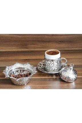 YamanlarPlastik Kahve Fincanı Seti 27 Parça. 6 Kişilik Otantik Desenli Tepsili Gümüş Kahve Seti. 1