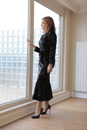 VENTİUP Siyah Uzun Volanlı Kadife Payet Elbise 4