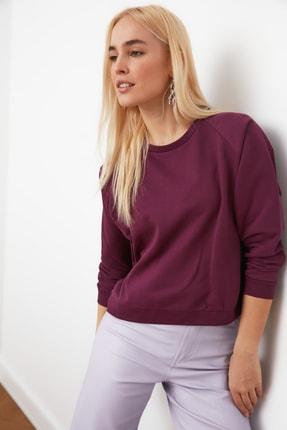 TRENDYOLMİLLA Mürdüm Basic Örme Sweatshirt TWOAW20SW0055 1