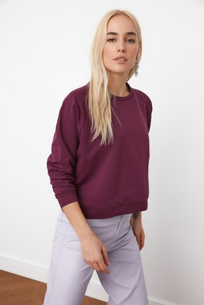 TRENDYOLMİLLA Mürdüm Basic Örme Sweatshirt TWOAW20SW0055 2