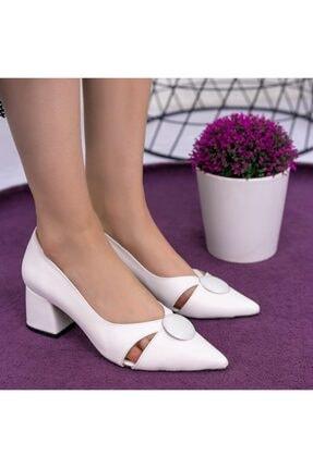 Erbilden Melvi Beyaz Cilt Topuklu Ayakkabı 3