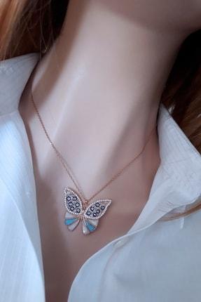 Rams Gümüş Kadın Mavi Sır kelebek Kolye Rose RMS19122 0