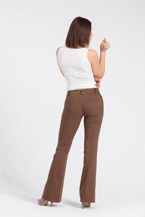 Jument Kadın Kahverengi Kalın Kemerli Cepli İspanyol Bol Paça Likralı Kumaş Pantolon 2