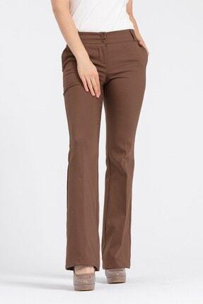 Jument Kadın Kahverengi Kalın Kemerli Cepli İspanyol Bol Paça Likralı Kumaş Pantolon 3