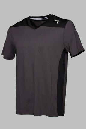 BESSA Garnili Interlok Nefes Alabilir Kumaş Fosfor Baskılı Antrasit Spor T-shirt 0