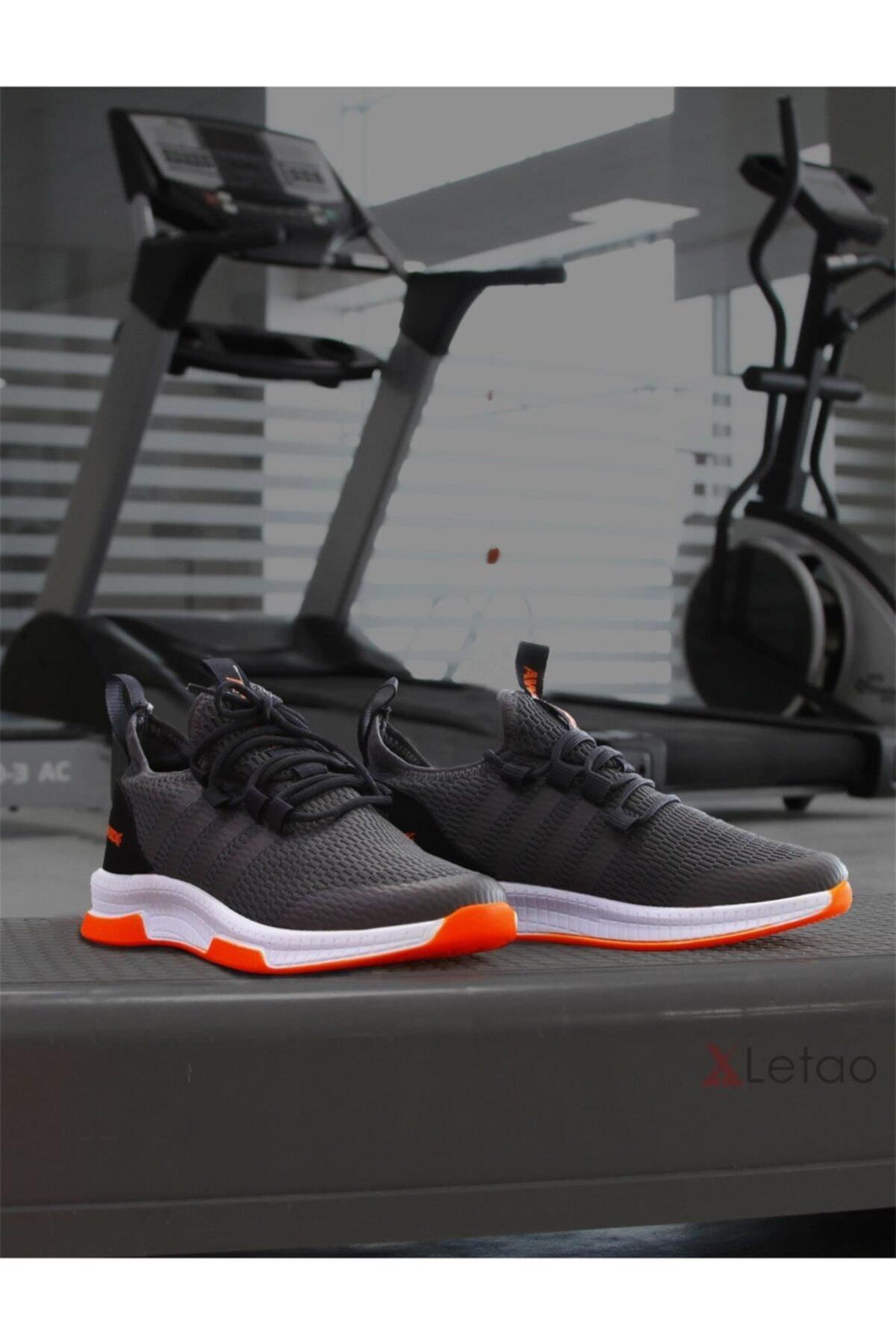 Unisex Gri Hafif Günlük Spor Yürüyüş Sneaker Ayakkabı