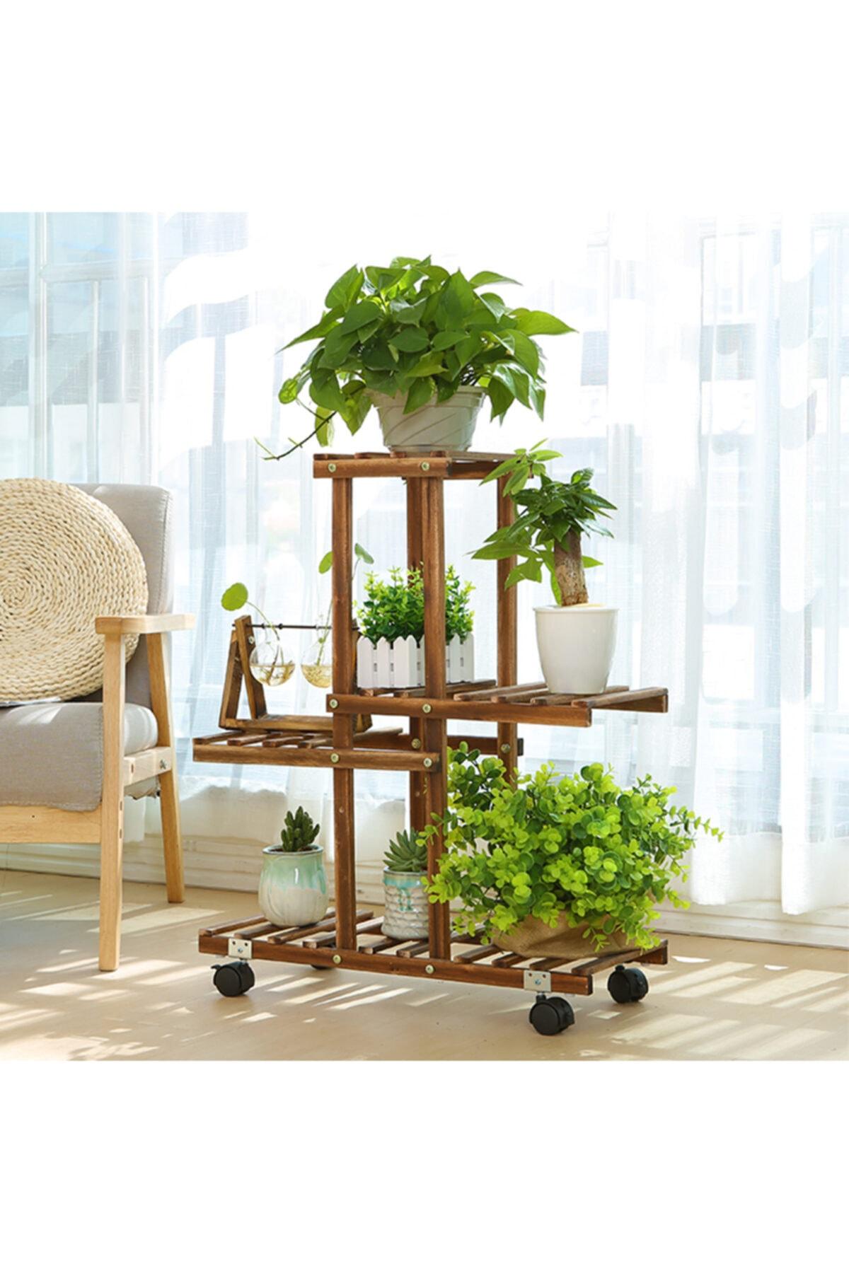 Ahşap Çiçeklik Saksı Standı 4 Katlı Dekoratif Tekerlekli Çiçek Standı