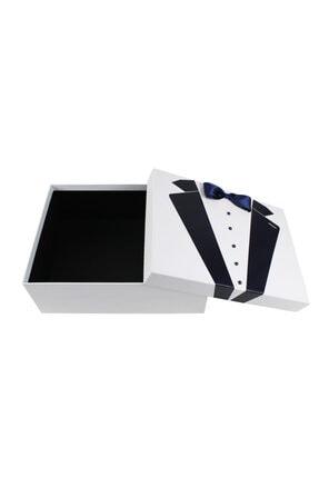 BÜYÜTEÇ KINA 3 Adet Beyaz Lacivert Smokin Karton Damat Çeyiz Kutusu Damat Bohçası Dürü Taşıma Kutusu 34x26 Cm 1