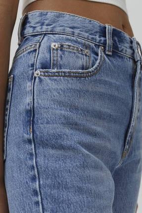 Pull & Bear Kadın Orta Mavi Bacakları Distressed Mom Jean 2
